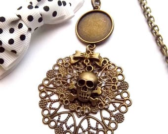 Support bronze necklace 20mm cabochon, print double round bow tie and skull