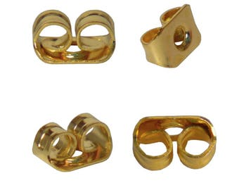 Bag of 110 tips color Butterfly clasps gold / gold earrings studs - free shipping
