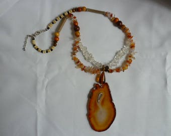 Necklace with agate, Crystal chips and agate slice