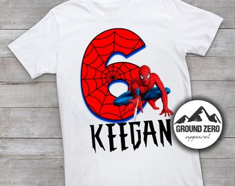 Spiderman Birthday Shirt - Personalized with Name and Age - Spider Man Birthday Tee - Custom Birthday Shirt