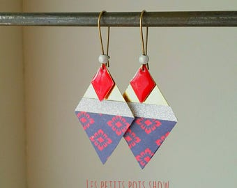 Navy and Red silver diamond earrings