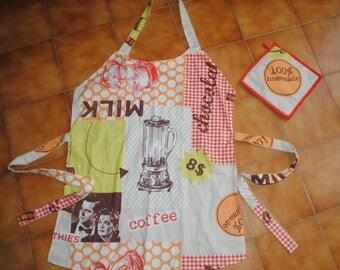 colorful apron set + 100% homemade matching Potholder