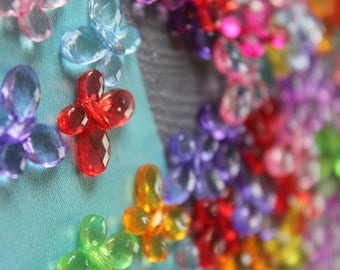20 x acrylic Butterfly Mix shape beads