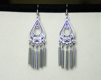Earrings with pendant beads and chandelier Czech glass tubes