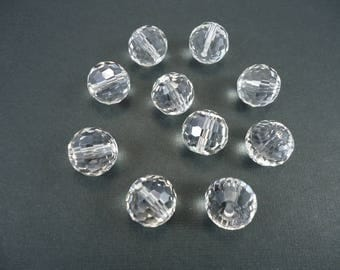 10 pearls round transparent faceted Chinese Crystal, China Crystal, Crystal beads