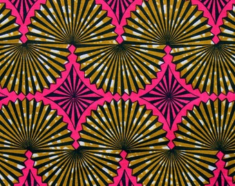 Brown and pink Dutch Wax fabric