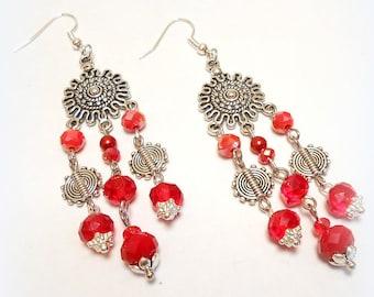 "Gitanes ""Red passion"" chandelier earrings"