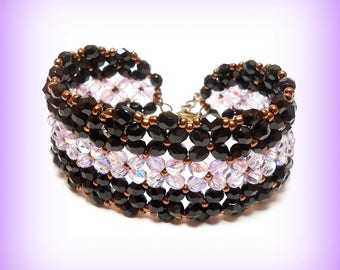 "Cuff Bracelet woven Crystal ""Black violet Bohemian iridescent"""