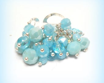 """Ring charms """"Summer Turquoise"""" Crystal beads"""