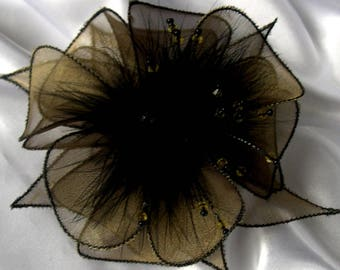 Old organza flower brooch, feathers & beads