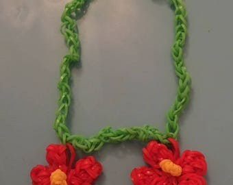 Rainbow loom necklace 2 flower elastic baby