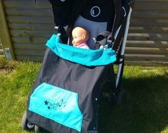 Blanket cape waterproof stroller/carry black/turquoise
