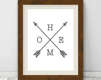 Home Arrow Print, Wall Art Print, Minimal Arrow Home Type, Arrow Black and White Print, Arrows, Home Print, Instant Download, Digital Print