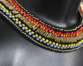 Modern ethnic chic necklace crochet