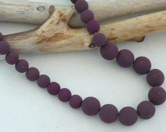 Plum velvet beaded necklace