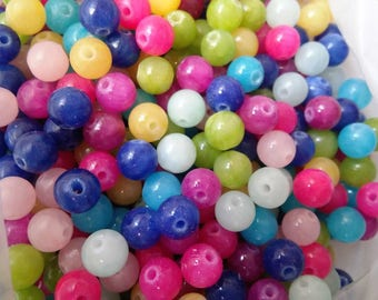 set of 20 reconstituted stone 6mm reconstituted stone beads