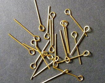 Set of 20 stems earrings studs gold 28 mm creation