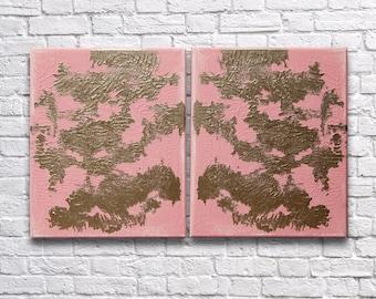 "RoR #12 Pink & Gold Rorschach Acrylic Wall Art Twin Canvas Set (8"" x 10"" each   total 16"" x 10"")"