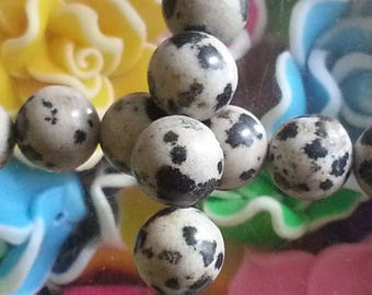 20 pearls chatter Dalmatian of 8mm diameter, hole 1 mm