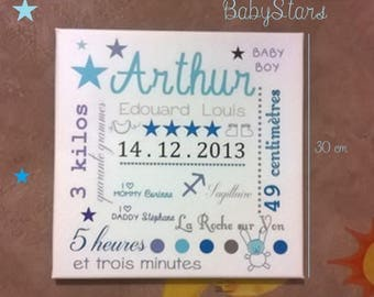 Hanging with baby name art canvas stars or nanny or custom choice