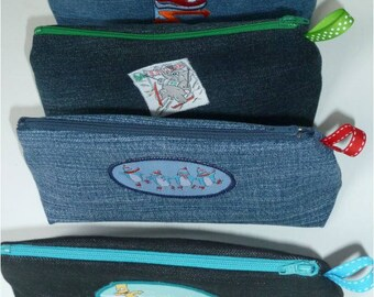 Set of 4 packages of recycled denim and SPORT pattern with Ribbon (20cm)