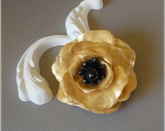 Black Golden poppy in cold porcelain
