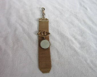 Antique Victorian Gold Filled Mesh Pocket Watch Fob Chain with Mother of Pearl