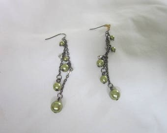 Vintage Long Dangle Pierced Earrings Glass Pearl & Rhinestone