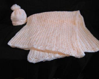 Peach Baby Blanket With Matching Hat