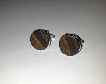 Macassar ebony wood cuff links