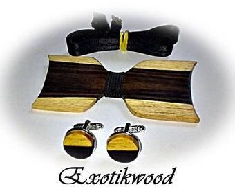 Bow tie set + Mozambique EBONY wooden cufflinks