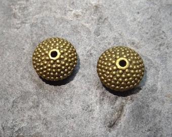 2 beads metal bronze antique spacer, 8mm wide