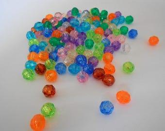 1 lot of 50 multicolored faceted acrylic beads