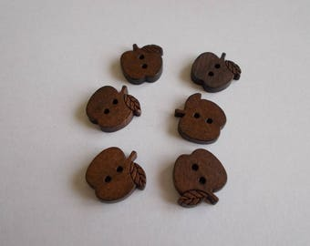 1 set of 6 wooden Apple buttons