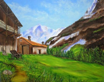 "Painting on canvas ""Farm in the pastures"""