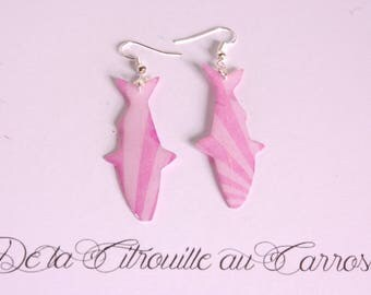 Pink fish earrings