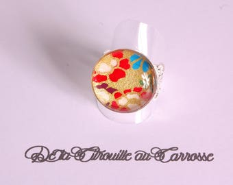 Ring cabochon pattern floral Japanese