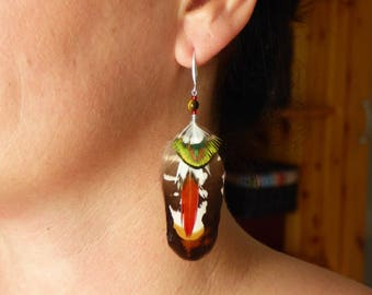 Feather with stone beads and silver hook earrings
