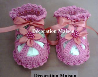 Satin crochet beaded dressed baby sandal