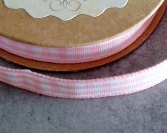Fabric tape 1 cm adhesive pink gingham cotton for scrapbooking