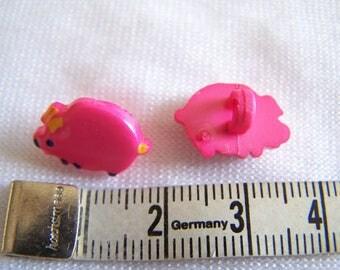 Fancy button, child, pig pattern (Bo-2147)
