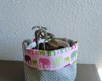 PIN tray or planter in cotton, reversible, green and pink elephants