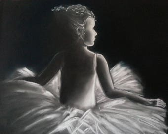 ballet dancer painting black and white photo