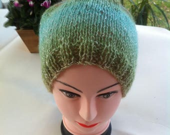Hand knitted green ombre wool and acrylic Beanie