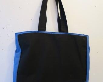 Dark blue and black cotton tote bag