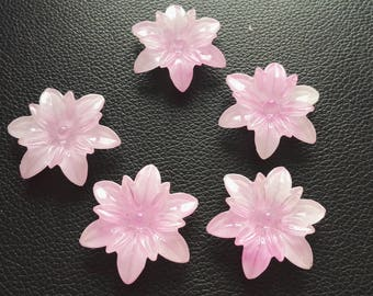 Set of 5 beads in pink flowers
