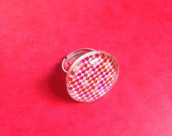 25 mm heart cabochon Adjustable ring