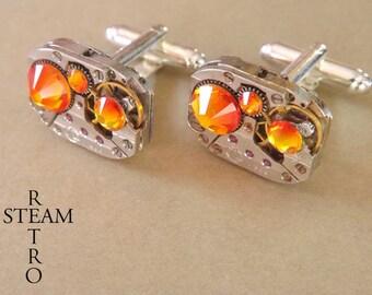 Mens Steampunk - Steampunk Swarovski fire opal vintage watch movement cuff links. wedding cufflinks vintage buttons