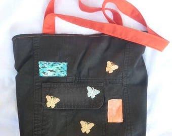 Recycled cotton pants, butterflies decor city bag