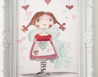 """Hearts and quilts Lilirose"" small watercolor"